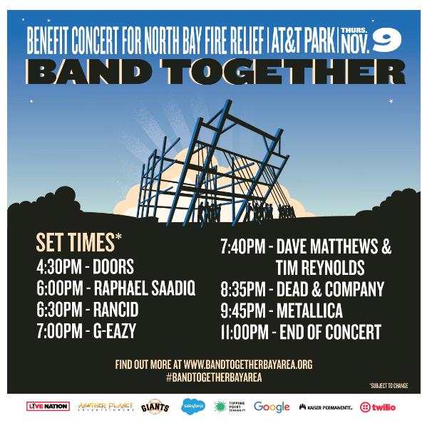 Set Times for Band Together Concert in San Francisco