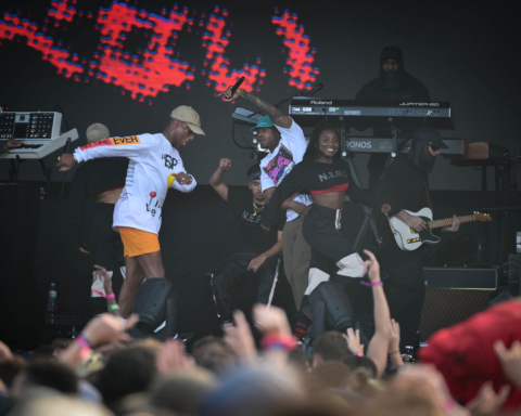 Pharrell Williams performing with N.E.R.D at Outside Lands in San Francisco